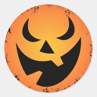 Halloween Pumpkin Face Round Sticker