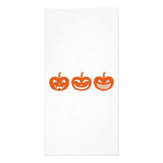 Halloween Pumpkin faces Photo Greeting Card