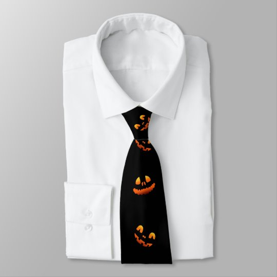 Halloween Pumpkin Faces Tie