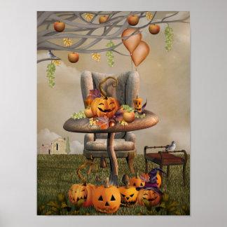 Halloween Pumpkin Feast Fantasy Art Poster