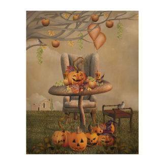 Halloween Pumpkin Feast Fantasy Art Wood Print