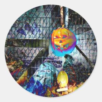 Halloween Pumpkin From Hell Round Sticker