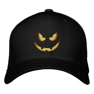 Halloween Pumpkin Grin - Booo! Embroidered Baseball Caps