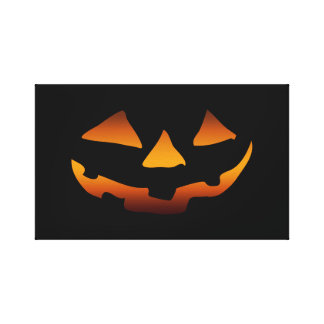 Halloween pumpkin happy face stretched canvas prints