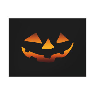Halloween pumpkin happy face gallery wrapped canvas