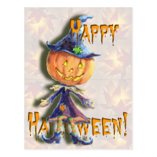 HALLOWEEN  PUMPKIN HEAD by SHARON SHARPE Postcard