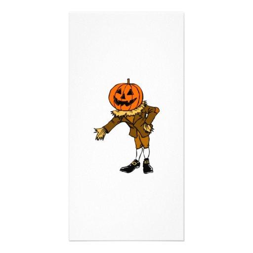 Halloween Pumpkin Head Customized Photo Card