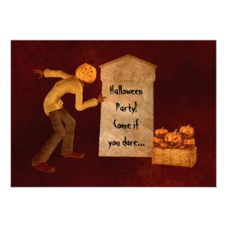 Halloween pumpkin head scarecrow fun party invite