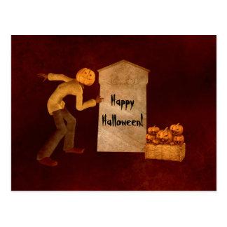 Halloween pumpkin head scarecrow fun post card