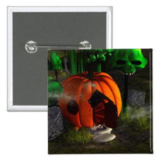 Halloween, pumpkin house with mushrooms as skulls 15 cm square badge