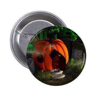 Halloween, pumpkin house with mushrooms as skulls 6 cm round badge