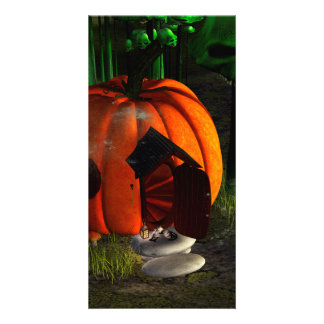 Halloween, pumpkin house with mushrooms as skulls photo cards