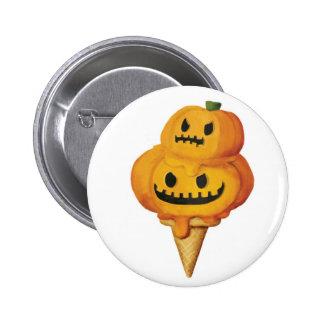 Halloween Pumpkin Ice Cream Cone 6 Cm Round Badge