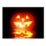 halloween pumpkin jack-o-lantern post card