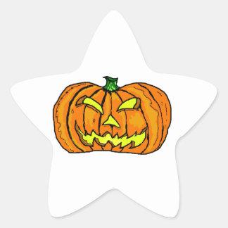 Halloween Pumpkin Jack-o -Lantern Star Stickers