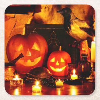 Halloween Pumpkin Lantern Square Paper Coaster