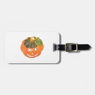 Halloween pumpkin luggage tag
