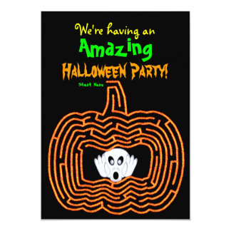 Halloween Pumpkin Maze and Ghost Card