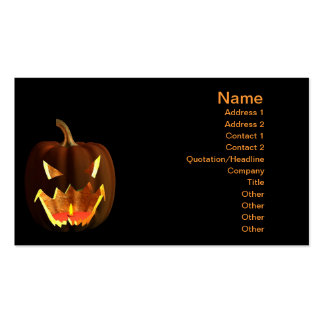 Halloween pumpkin on black pack of standard business cards