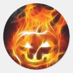 Halloween Pumpkin on Fire Round Sticker