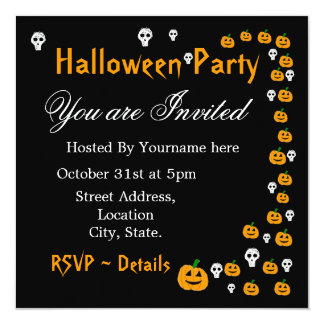 Halloween Pumpkin Party Invitations