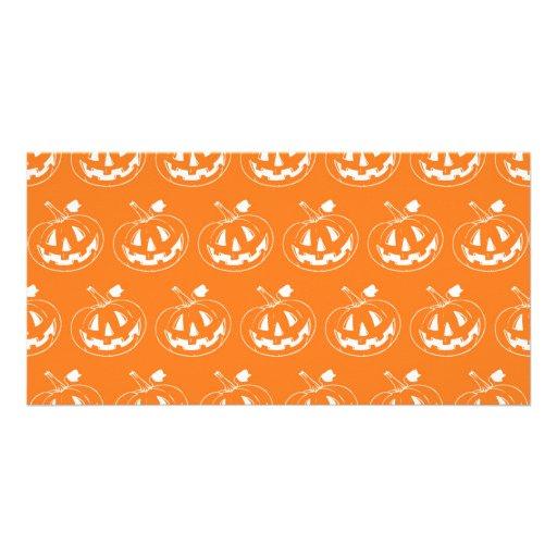 Halloween Pumpkin pattern Photo Greeting Card