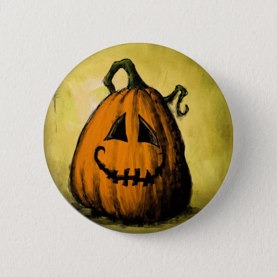 Halloween pumpkin pinback button