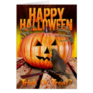 Halloween Pumpkin Rat, Skeleton Hands And Fire Greeting Card