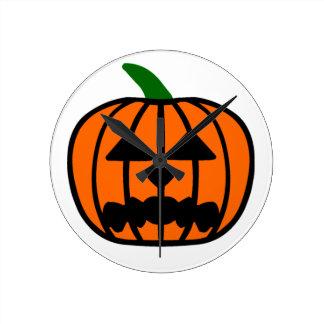 Halloween Pumpkin Round Clock