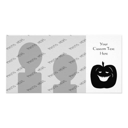 Halloween Pumpkin Silhouette. Black. Photo Greeting Card