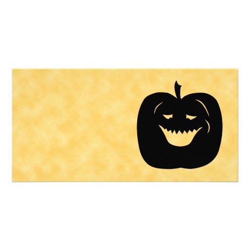 Halloween Pumpkin Silhouette. Black. Custom Photo Card