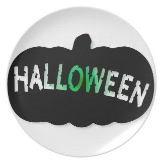 Halloween Pumpkin Silhouette Dinner Plates