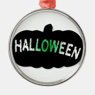 Halloween Pumpkin Silhouette Silver-Colored Round Decoration