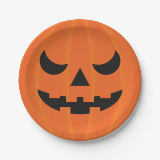 Halloween Pumpkin Slightly Scary Face Party 7 Inch Paper Plate