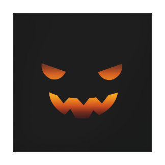 Halloween pumpkin smiley face canvas print