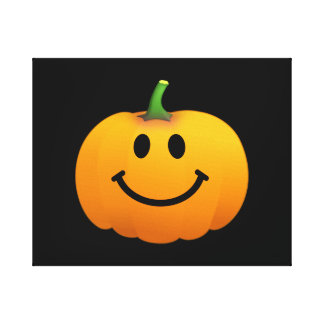 Halloween Pumpkin Smiley face Gallery Wrapped Canvas