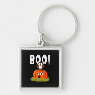 Halloween Pumpkin Spooked Owl Keychains
