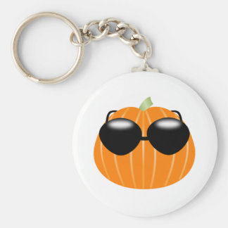 Halloween Pumpkin Wearing Sunglasses Keychain