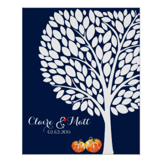 halloween pumpkin wedding signing guestbook poster