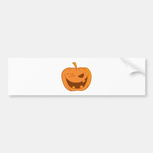 Halloween Pumpkin Winking Bumper Stickers