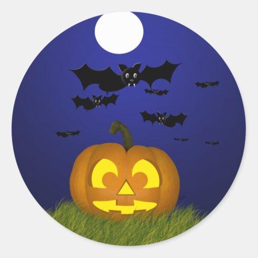 Halloween Pumpkin with Bats Sticker