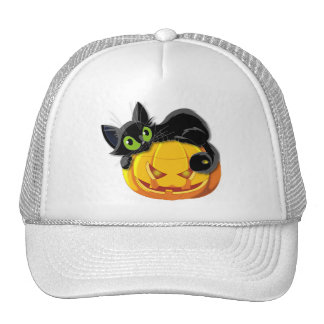 Halloween Pumpkin with Black Cat Mesh Hats