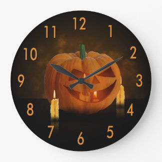 Halloween Pumpkin with Candles - Wall Clock