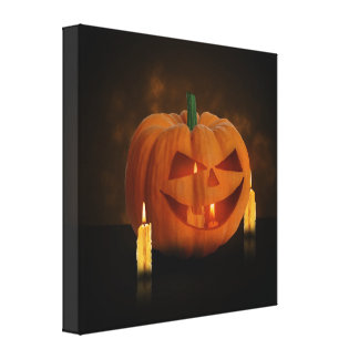 Halloween Pumpkin with Candles - Wrapped Canvas Canvas Prints