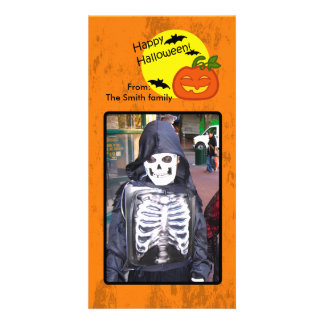 Halloween pumpkin with distressed background custom photo card