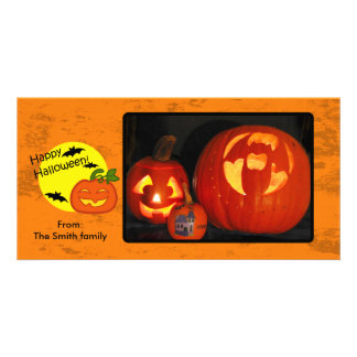 Halloween pumpkin with distressed background photo greeting card