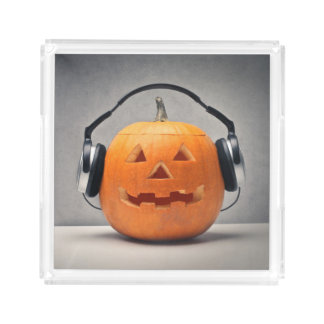 Halloween Pumpkin With Headphones For Music Acrylic Tray