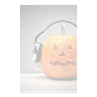 Halloween Pumpkin With Headphones For Music Personalized Stationery