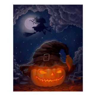 Halloween Pumpkin with Witch