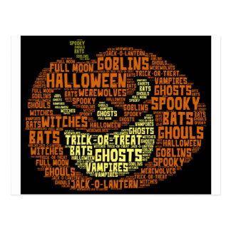 Halloween Pumpkin Word Cloud-Word Art Postcard